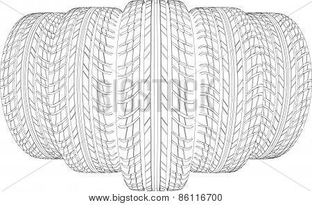 Sketch of five wire-frame tires. Vector illustration