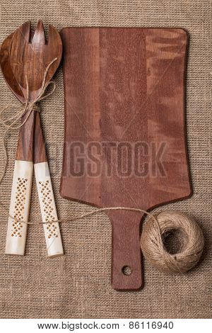 Wooden Cutting Board, Spoon And Fork