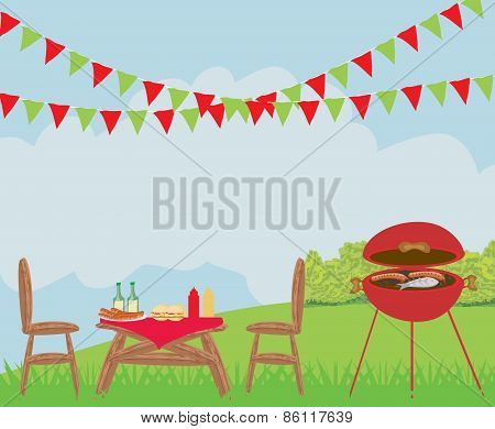 Illustration Of Backyard Barbecue Scene