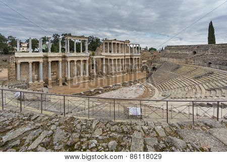 The Roman Theatre in Merida, Spain. Side View