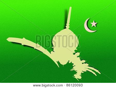Abstract Mosque And Crescent Moon With Star