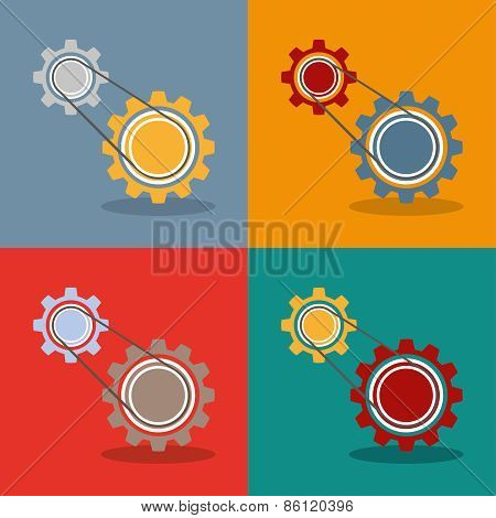 2 Gears Engine Flat Design