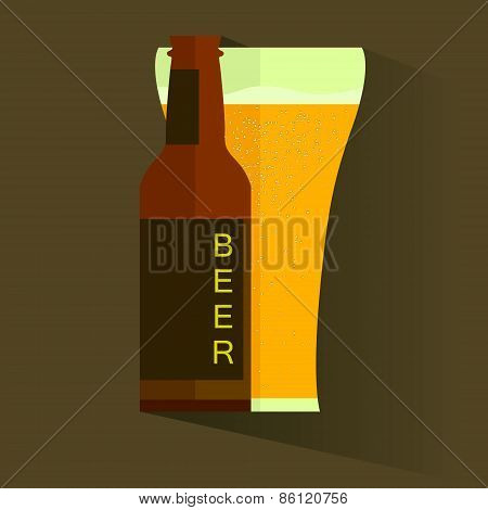 Retro beer vector poster.  Retro label  or banner design. Vector old paper texture food and drink ba