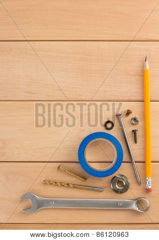 construction concept on wooden background