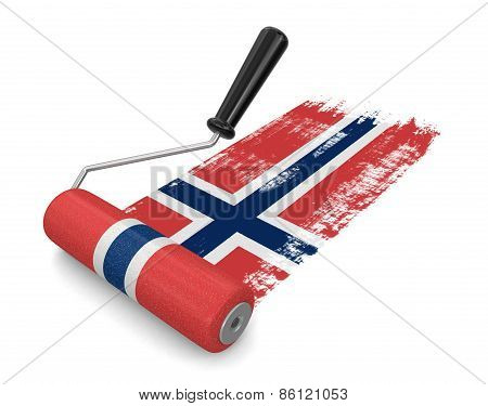 Paint roller with Norwegian flag (clipping path included)