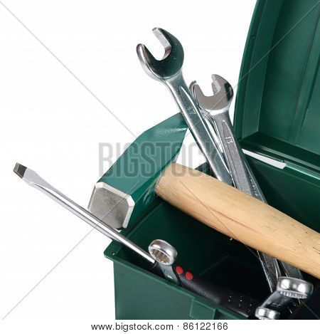 Box With Construction Tools Isolated