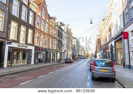 View of the Kalverstraat street in Amsterdam
