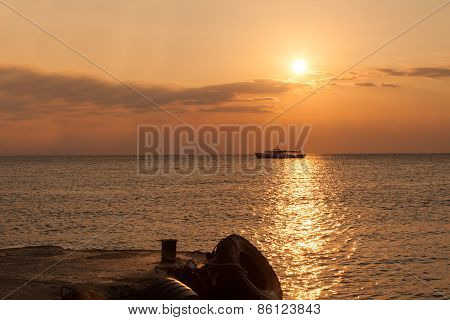 view of a sunset over the sea in Crimea