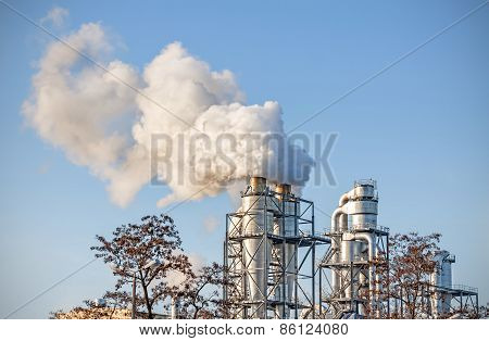 Smoky Chimenys Over Blue Sky, Air Pollution Concept.