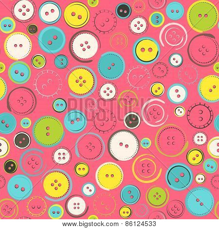 Seamless Pattern With Decorative Sewing Buttons Over Pink