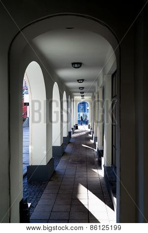 Arcade Arches With Light Shadow In The Building