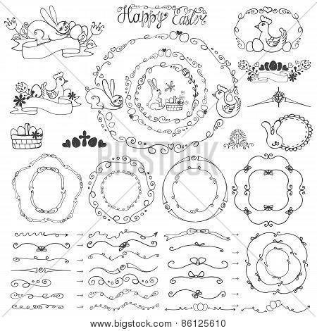 Easter.Doodle frame,bruches,wreath,decor element