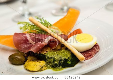 Pesto Sauce On Antipasti Plate