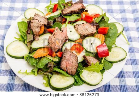 Steak On Fresh Salad