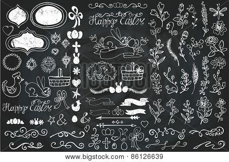 Easter Doodle borders,egg,ribbons,floral decor element.Chalk