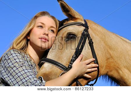 Portrait Of Teenage Girl And Horse