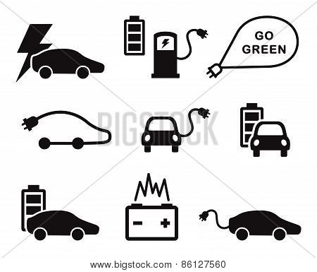 Electric car icons vector set