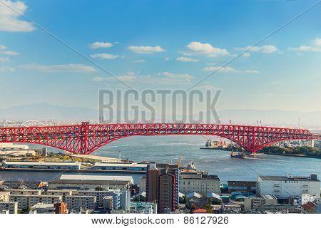 Minato Bridge in Osaka Japan