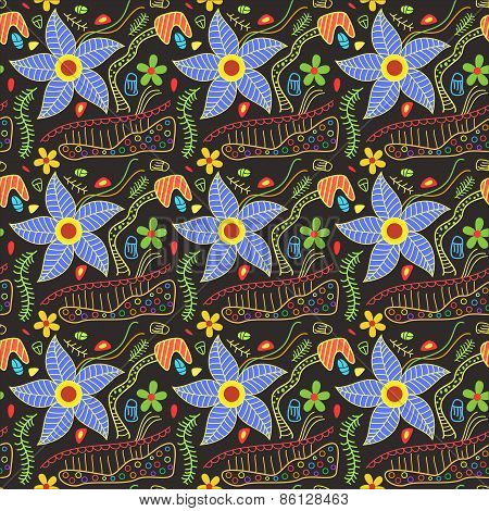 Colorful Floral doodles pattern