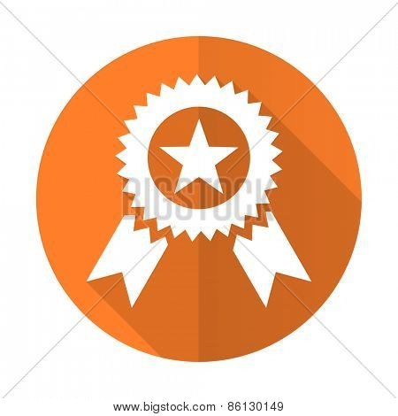 award orange flat icon prize sign
