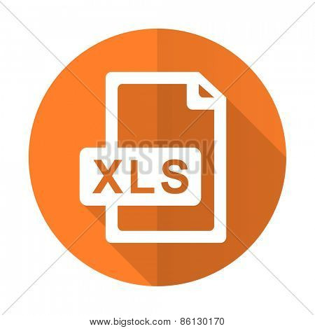 xls file orange flat icon