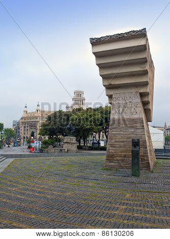 Barcelona Spain. Monument to Francesc Macia in Placa de Catalunya.