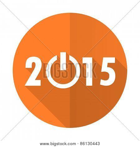 new year 2015 orange flat icon new years symbol