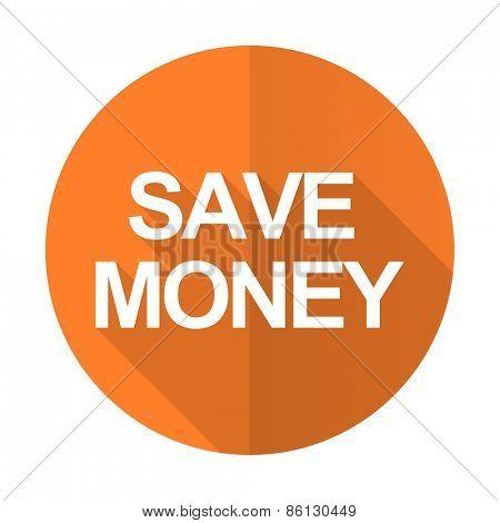 save money orange flat icon