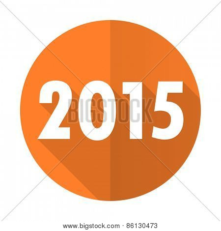 new year 2015 orange flat icon new years symbol