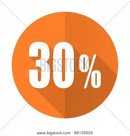 30 percent orange flat icon sale sign