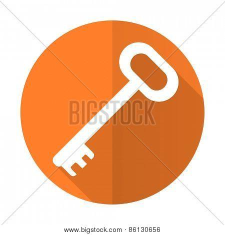 key orange flat icon secure symbol
