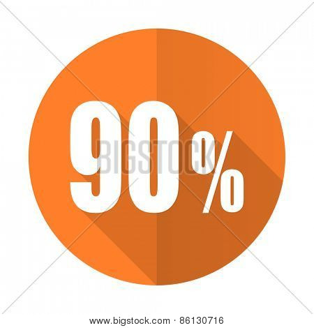 90 percent orange flat icon sale sign