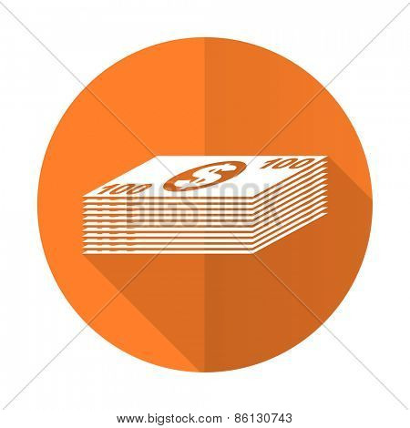 money orange flat icon cash symbol