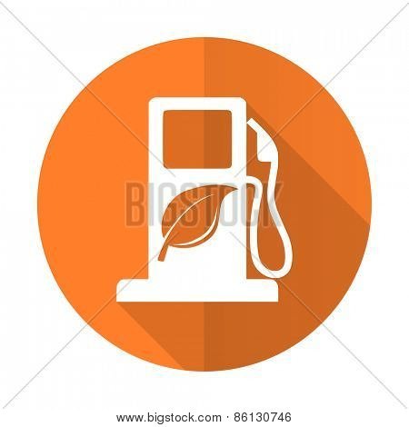 biofuel orange flat icon bio fuel sign