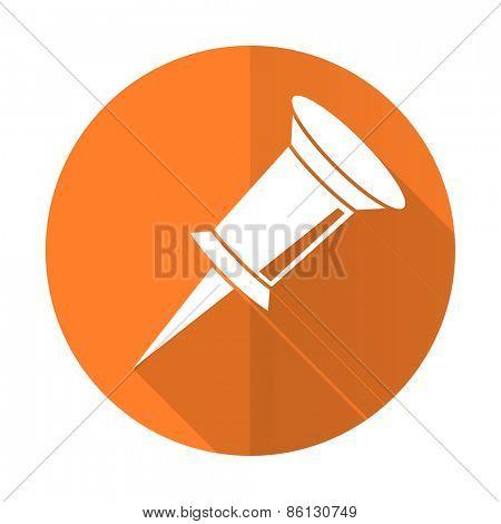 pin orange flat icon