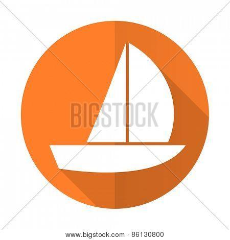 yacht orange flat icon sail sign
