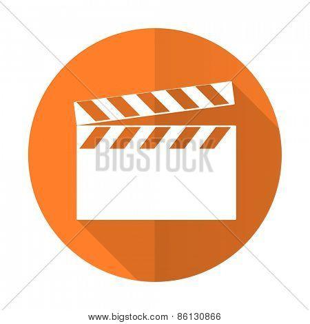 video orange flat icon cinema sign
