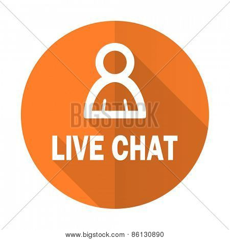 live chat orange flat icon