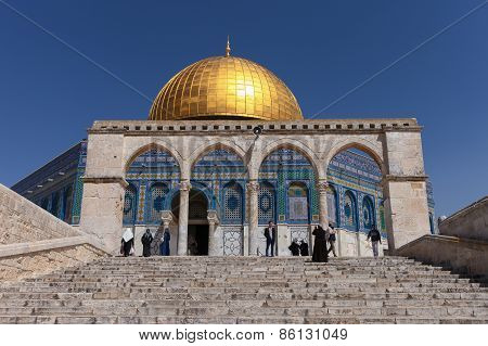 The Dom of Rock on the Temple Mount in the Old City of Jerusalem