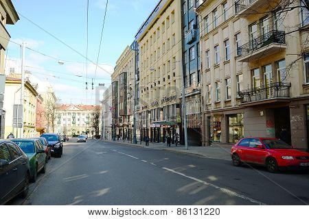 Vilnius City Gediminas Street On Morning Time