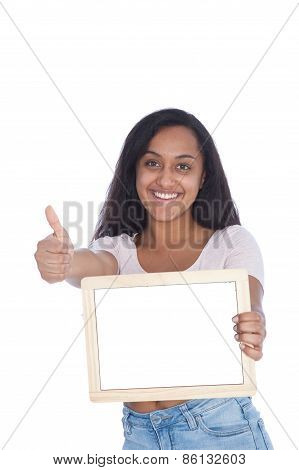 Indian Woman Showing Empty Board And Thumbs Up