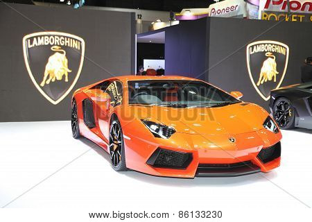 BANGKOK - MARCH 25: Lamborghini car on display at The 36 th Bangkok International Motor Show on Marc