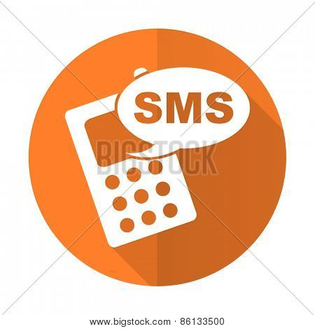 sms orange flat icon phone sign