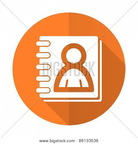 address book orange flat icon