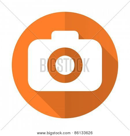 photo camera orange flat icon photography sign