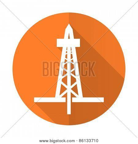 drilling orange flat icon