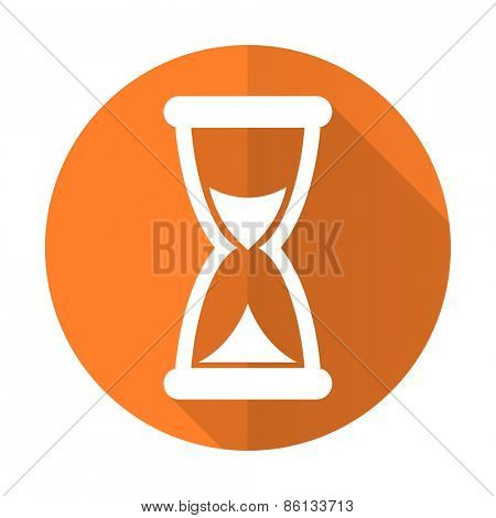 time orange flat icon hourglass sign