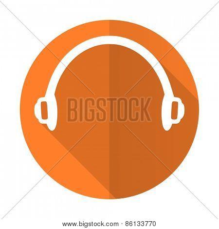 headphones orange flat icon