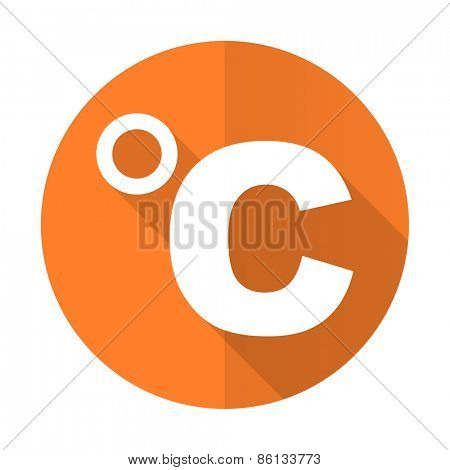 celsius orange flat icon temperature unit sign