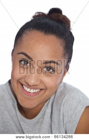 Happy Face Of Asian Indian Girl Looking At Camera